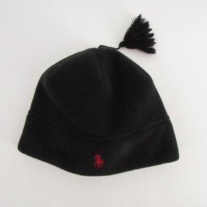 POLO Black Beanie Kid's Hat w/Tassle